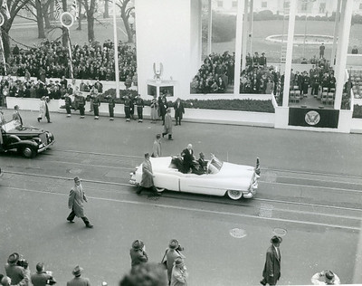 Scene from Eisenhower's Inaugural parade.  The National Archive / Unwritten Record Blog https://unwritten-record.blogs.archives.gov/2017/01/10/a-look-at-inauguration-day-through-the-years-inaugural-photographs-and-facts/