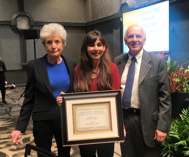 Judith Eaton, president of CHEA; Sonya Christian, president of BC; Jamil Salmi