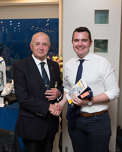 Chris Sheehy receiving the Longest Drive Prize (on the 9th) from President Colm on behalf of Luke Byrne