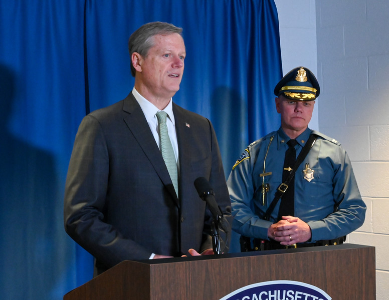 Governor Baker and Colonel Mason Press Event at State Police Academy