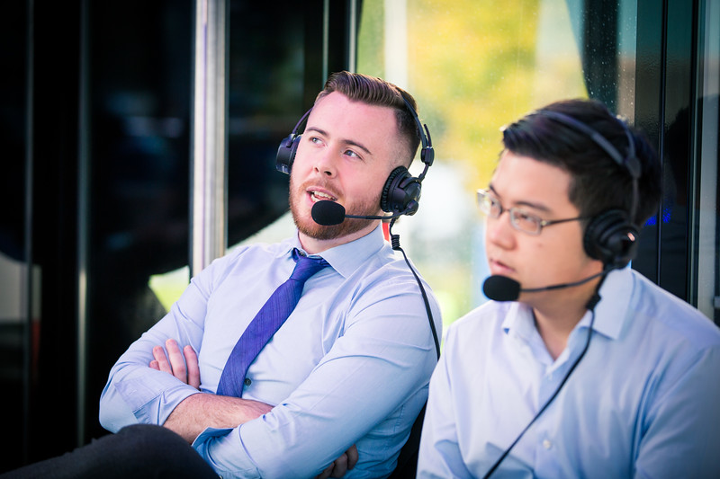 The commentators Austin 'Capitalist' Walsh and his Co-Caster William 'Blitz' Lee in action