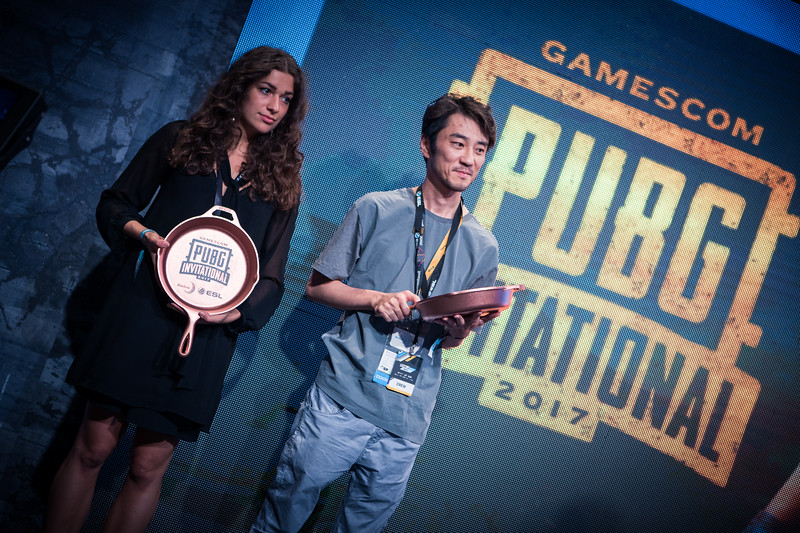 The frying pan 'trophies' for the winners of PUBG in ESL Arena at Gamescom 2017