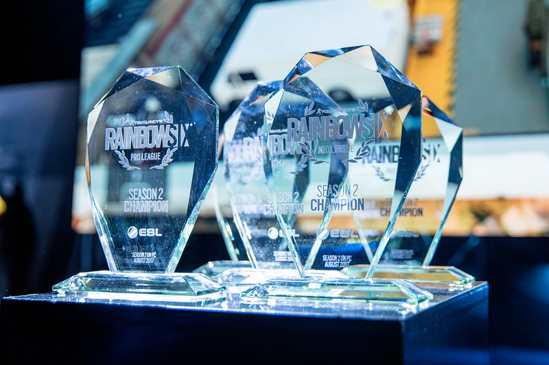 The trophies of  Tom Clancy's Rainbow Six: Siege Pro League Season 2 Finals
