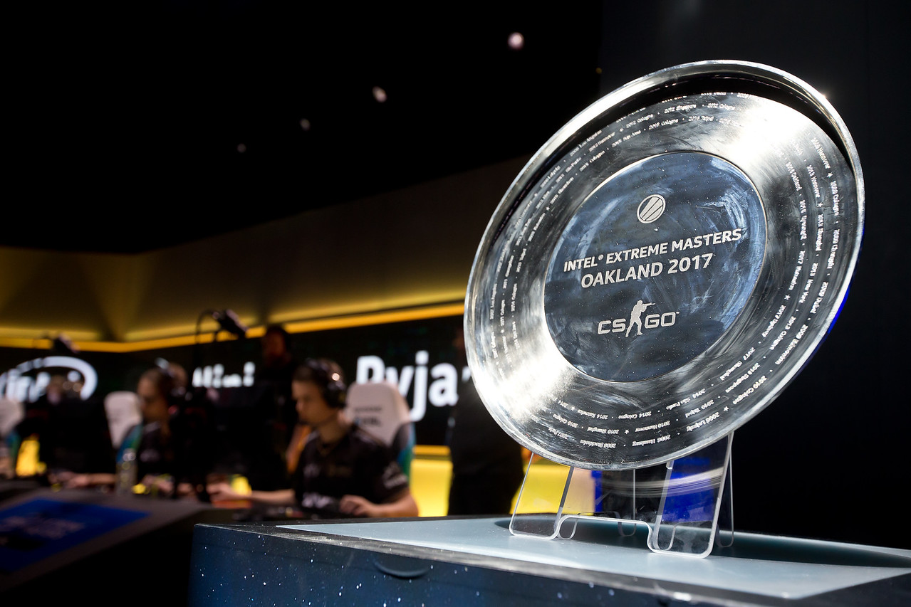 The trophy of the Intel Extreme Masters Oakland 2017