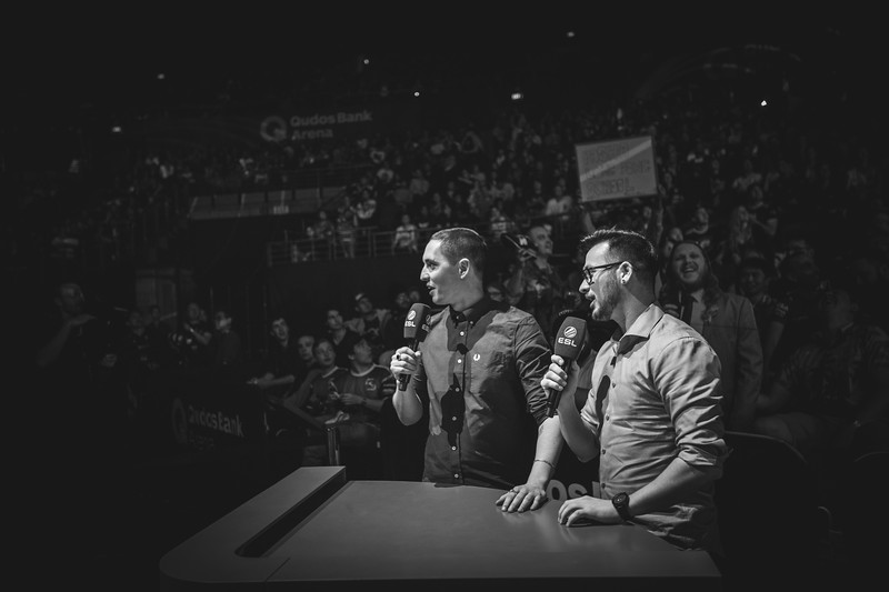 "The Casters Matthew ""Sadokist"" Trivett and his co-caster Henry ""HenryG"" Greer on stage"
