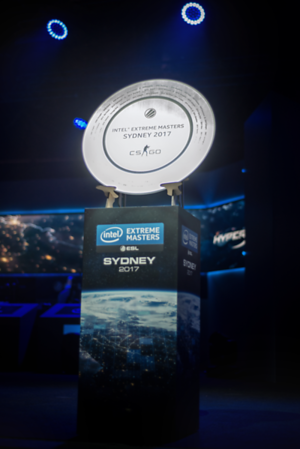 The trophy of the Intel Extreme Masters Sydney 2017