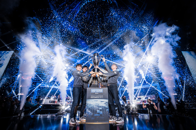 The winners Flash Wolves lift the trophy of the Intel Extreme Masters World Championship Katowice 2017