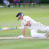 MBFP-06-08-2016-006 Bury v Sudbury Cricket Batsman Sean Park takes a fall  Bury Free Press 06.08.2016
