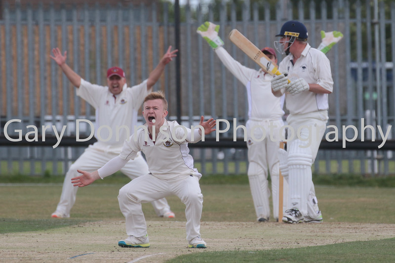 MDEP-24-06-2017-028 Thetford Town v Mattishall League Norfolk Cricket Alliance Division One Thetfords bowler James Boulch makes a big claim for a wicket.