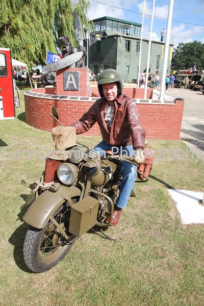 MBFP-07-08-2016-050 Colin Corby with his restored Harley Davidson.  Rougham Echos of the Past. Bury Free Press 07.08.2016