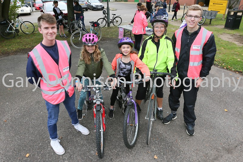Ride Marshals Alex Warner and Jordan Barry with participants Amber Daly, Nia Feeney-Howells and Julie Barry. Picture Gary Donnison