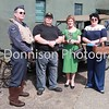 MBFP-07-08-2016-052  Rougham Echos of the Past. The Lady Mayor with organiser David Hardy & re-enactors Paul Creighton and Julie Hawes. Bury Free Press 07.08.2016