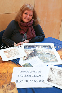 MDEP-10-02-2018-018 artist Mandy Walden with some of her cellograph print work