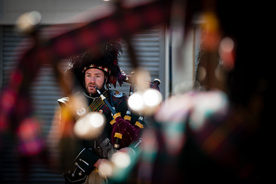 Anthony Farran, 24.04.2015 A Bag Piper is pictured playing during the St Georges Day parade in Accrington.