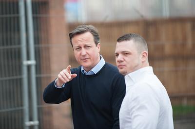 Prime Minster David Cameron Visits Buckshaw Village Nr Chorley 03.04.2015