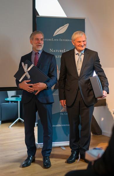 Astronaut Ernst Messerschmid and Christof Schenck during the NatureLife-Umweltpreises 2016 ceremony. Palais Livingston, Frankfurt, Germany. © Daniel Rosengren