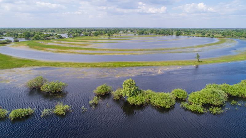 An aerial photo of the River Pripyat and its surrounding floodplain meadows, wetlands and oxbow lakes. This is an extremely important site for migrating birds (mainly waders) who stop here to feed on the abundance of food before continuing their migration. Turov area, Polesie, Belarus. © Daniel Rosengren