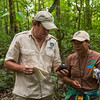 Thadaig Bagallay and PAC ranger Jessica George taking notes and GPS points in the Kanuku Mountains Protected Area, Guyana. © Daniel Rosengren