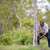 Asantael Melita (FZS staff) removing poacher's snares in Selous Game Reserve, Tanzania. © Daniel Rosengren / FZS