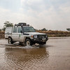 A FZS car crossing a river in North Luangwa NP, Zambia. © Daniel Rosengren / FZS