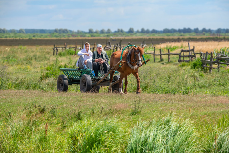 Two women and a horse on the countryside in the Polesie area, their future is threatened by the proposed E40 waterway, Ukraine. © Daniel Rosengren / FZS