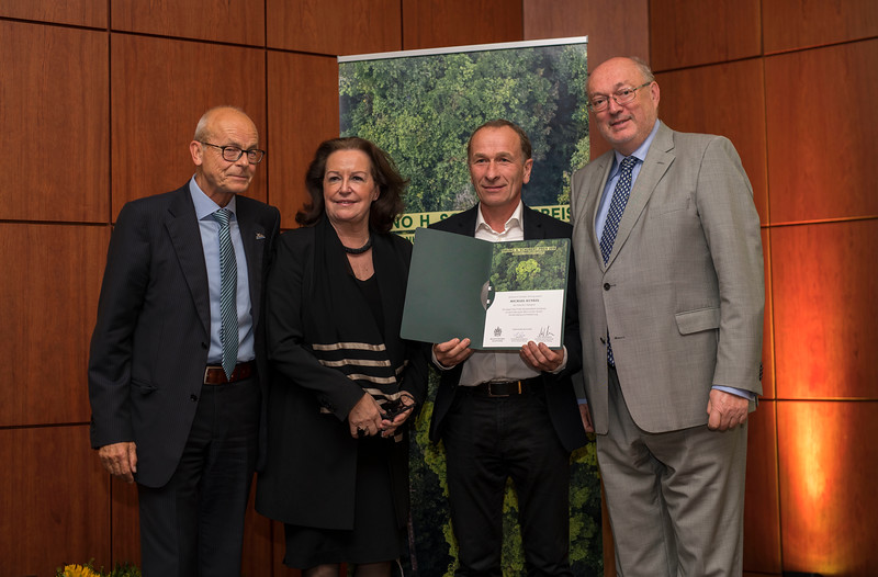At at the Frankfurt Conservation Award (Schubert-Preis) ceremony. From left; Dr. Michael Vogel (former head of the national park Berchtesgaden), Gabriele Eick (Chairman of the Schubert Foundation board), Michael Kunkel (Category 2 winner) and Prof. Manfred Niekisch (Schubert Foundation board member). Frankfurter Sparkasse, Frankfurt, Germany. @ Daniel Rosengren