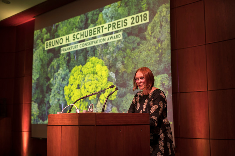 Dr. Elsa Nickel (Head of the Department for Nature Conservation and Sustainable Use of Nature at the Federal Ministry for the Environment, Nature Conservation, Construction and Nuclear Safety) at the Frankfurt Conservation Award (Schubert-Preis) ceremony. Frankfurter Sparkasse, Frankfurt, Germany. @ Daniel Rosengren