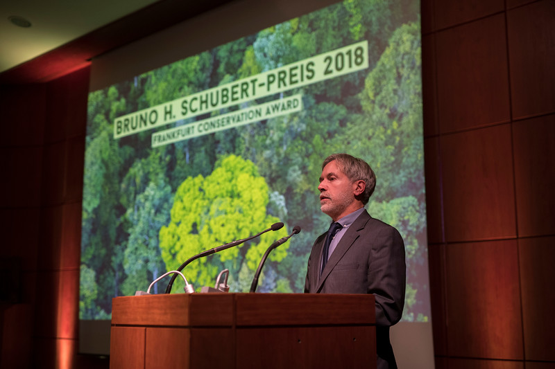 Christof Schenck (Director - Frankfurt Zoological Society) at the Frankfurt Conservation Award (Schubert-Preis) ceremony. Frankfurter Sparkasse, Frankfurt, Germany. @ Daniel Rosengren