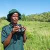 An Ikona WMA ranger with binoculars donated by FZS. Ikona WMA, Tanzania. © Daniel Rosengren
