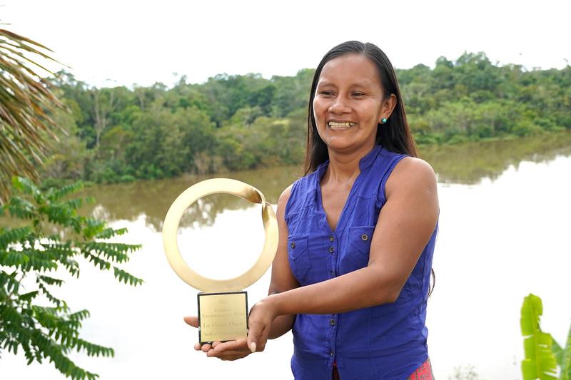 Liz Chicaje, winner of Goldman prize in her native community Pucaurquillo. ©️ Ingrid Chalán.