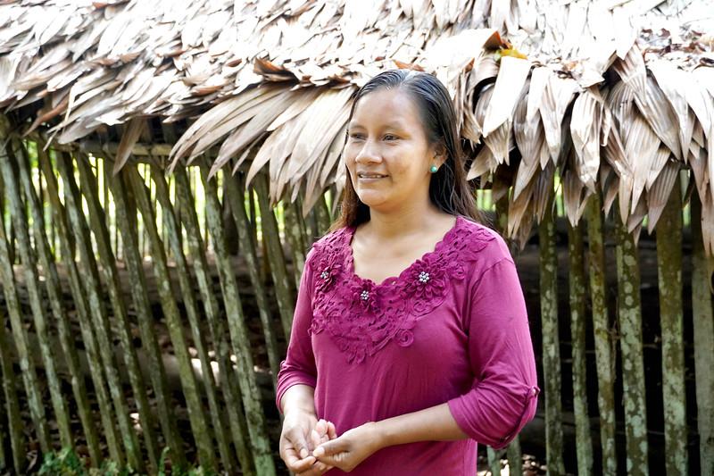Liz Chicaje, Goldman Prize winner in her home community of Pucaurquillo. ©️ Ingrid Chalán.