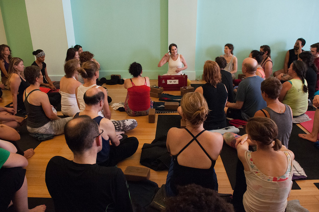 Sharon Gannon leads a Q&A after her yoga class at Jivamukti Yoga School in New York City. Photo by Derek Pashupa Goodwin.