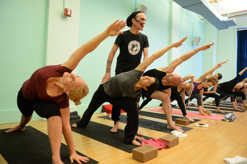 David Life teaches a yoga class at Jivamukti Yoga School in New York City. Photo by Derek Pashupa Goodwin.