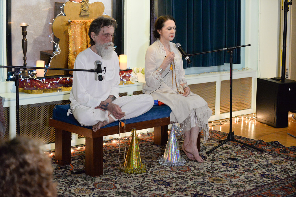 David Life and Sharon Gannon meditating during mauna (silent contemplation) at Jivamukti Yoga School in New York City. Photo by Derek Pashupa Goodwin.