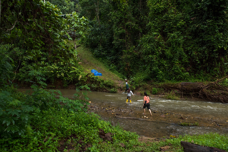 Staff crossing the river to go up to one of the two Orangutan cages. At the Field station at Open Orangutan Sanctuary, near Bukit Tigapuluh, Sumatra, Indonesia. © Daniel Rosengren