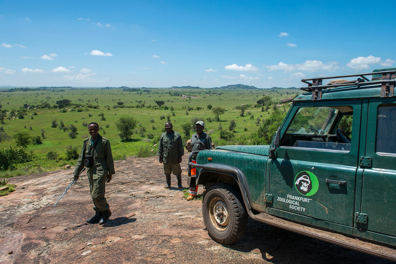 Moru rhino rangers on a kopje in the Moru area. Moru, Serengeti, Tanzania. © Daniel Rosengren