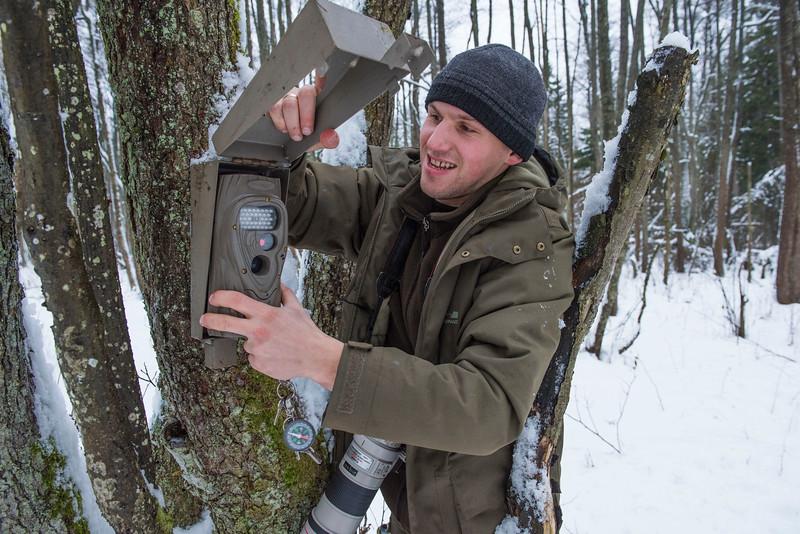 Aleksandr Pekach checking a camera trap. Bialowiezsa Forest, Belarus. © Daniel Rosengren