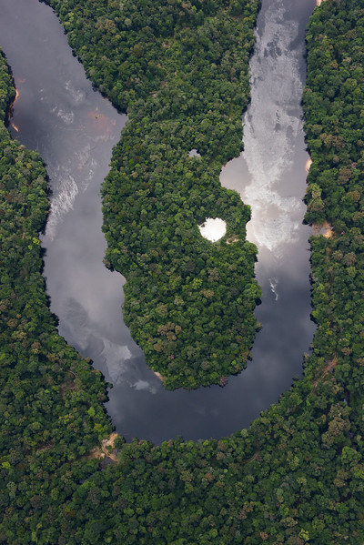The rainforest in Kaieteur NP and Georgetown. Aerial photo from a Cessna plane. Kaieteur NP, Guyana. © Daniel Rosengren