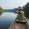 Oscar Mujica in a canoe on the lake by the Cocha Cashu Research Station. Manu NP, Peru. © Daniel Rosengren