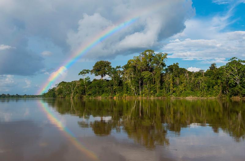 A rainbow over the rainforest along the Putumayo River, Peru, on the way to Yaguas. © Daniel Rosengren