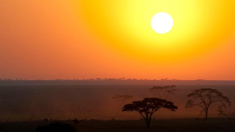 Setting sun over Serengeti