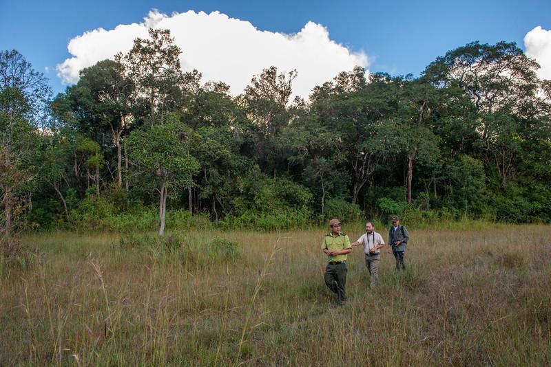 Nguyen Ai Tam and project leader Long Thang Ha exploring a meadow with a ranger in Kon Ka Kinh National Park, Vietnam. @ Daniel Rosengren / FZS