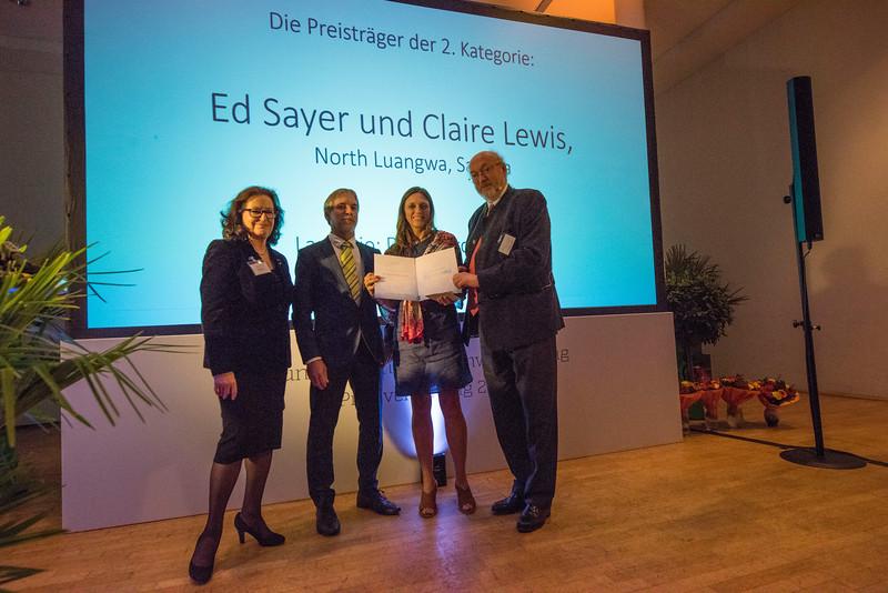 From left: Gabriele Eick, Christof Schenck, Second category winner Claire Lewis and Manfred Niekisch at the Schubert Prize Awards. Zoogesellschaftshaus, Frankfurt, Germany. © Daniel Rosengren