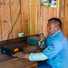 A Colombia parks ranger talking on the radio at the El Guamo ranger station in Chiribiquete NP, Colombia. © Daniel Rosengren / FZS