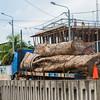 A truck with large logs passing through Puerto Maldonado, Peru. © Daniel Rosengren / FZS