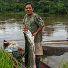 A local fisherman with an arapaima or Paiche near Yaguas, Peru. © Daniel Rosengren / FZS