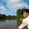 A park ranger (SERNANP) paddling down the River Yaguas, Peru. © Daniel Rosengren / FZS
