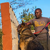 A dog handler with a dog on the daily training session. Bushmeat, ammunition or animals parts used in illegal trade are hidden in this wall of holes and the dogs are trained to sniff them out. When the item has been found, the dog sits down. These dogs are used for anti poaching purposes and are trained to sniff out for example rhino horn, pangolin scales and ammunition. North Luangwa NP. Zambia. © Daniel Rosengren