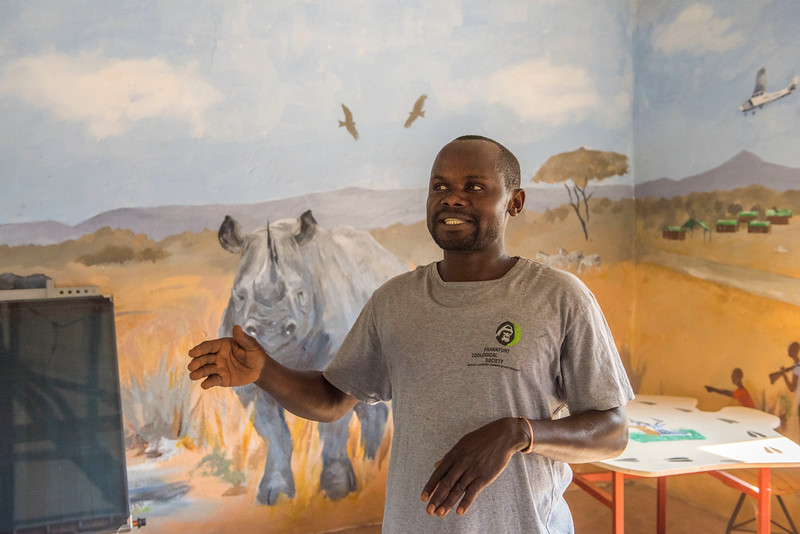 A teacher in his class room at the Marula Puku station in North Luangwa. Children from local schools are brought here to be educated about nature. They stay a few days and it includes board. It is usually very appreciated and often the children ask to stay longer. Zambia. © Daniel Rosengren