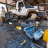 A mechanic fixing a car at the FZS garage in North Luangwa, Zambia. © Daniel Rosengren